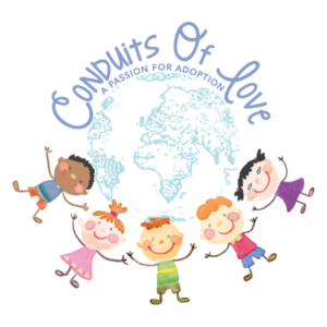 Conduits of Love Adoption Resources Logo Earth with words at top and kids on bottom