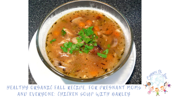 Healthy Organic Fall Recipe, For Pregnant Moms and Everyone: Chicken Soup with Barley blog post
